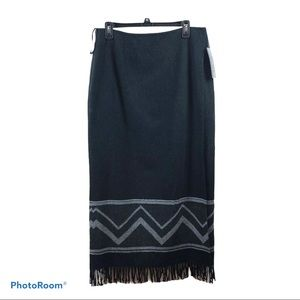 Nine & Co. full length wrap skirt with fringe NWT